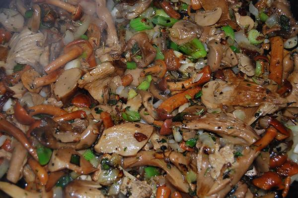 Pilz-Gemüsemischung mit Kräutern