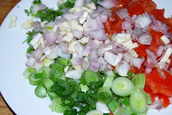 Das Gemüse für die Marinade