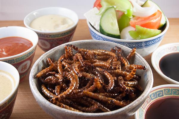Frittierte Mehlwürmer mit verschiedenen Dips und Gemüse- und Fetabeilage