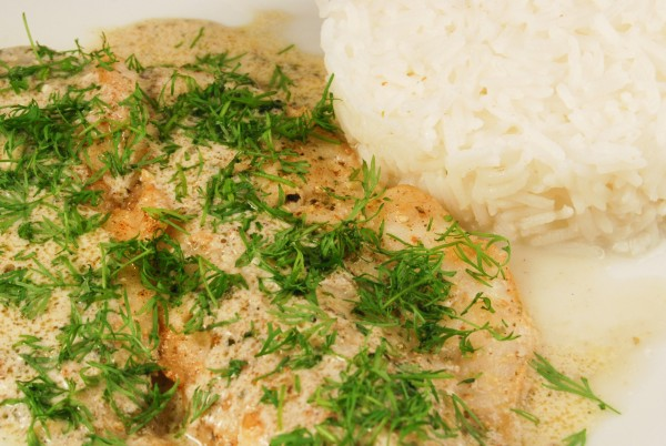 Seelachs mit viel Dill und Reis