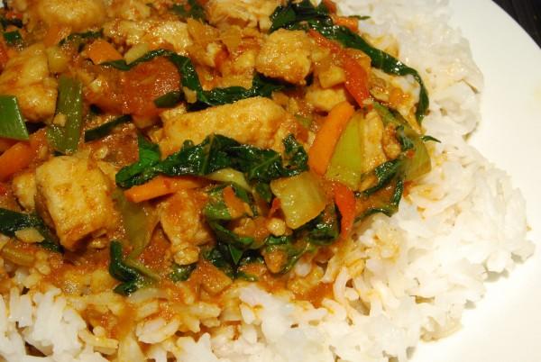 Fischcurry auf Reis