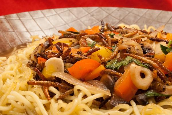 Leckere Insekten und Gemüse auf Pasta