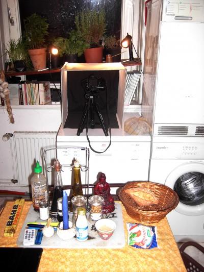 Neu und permanent aufgebautes Fotostudio in meiner Küche