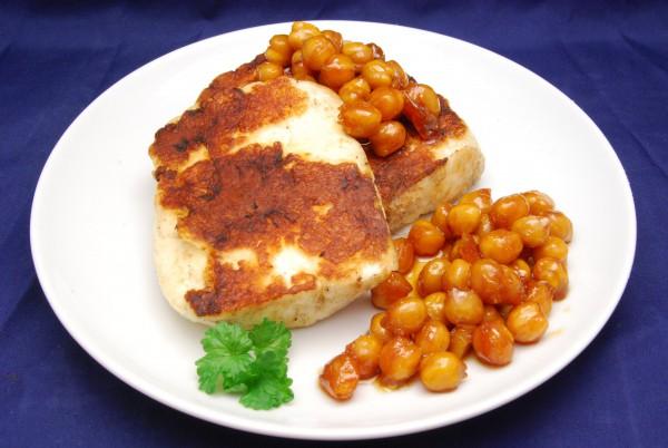 Käse und karamellsierte Kichererbsen