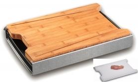 Exklusive Bambus-Sxhneidbox mit Kunststoffbrett