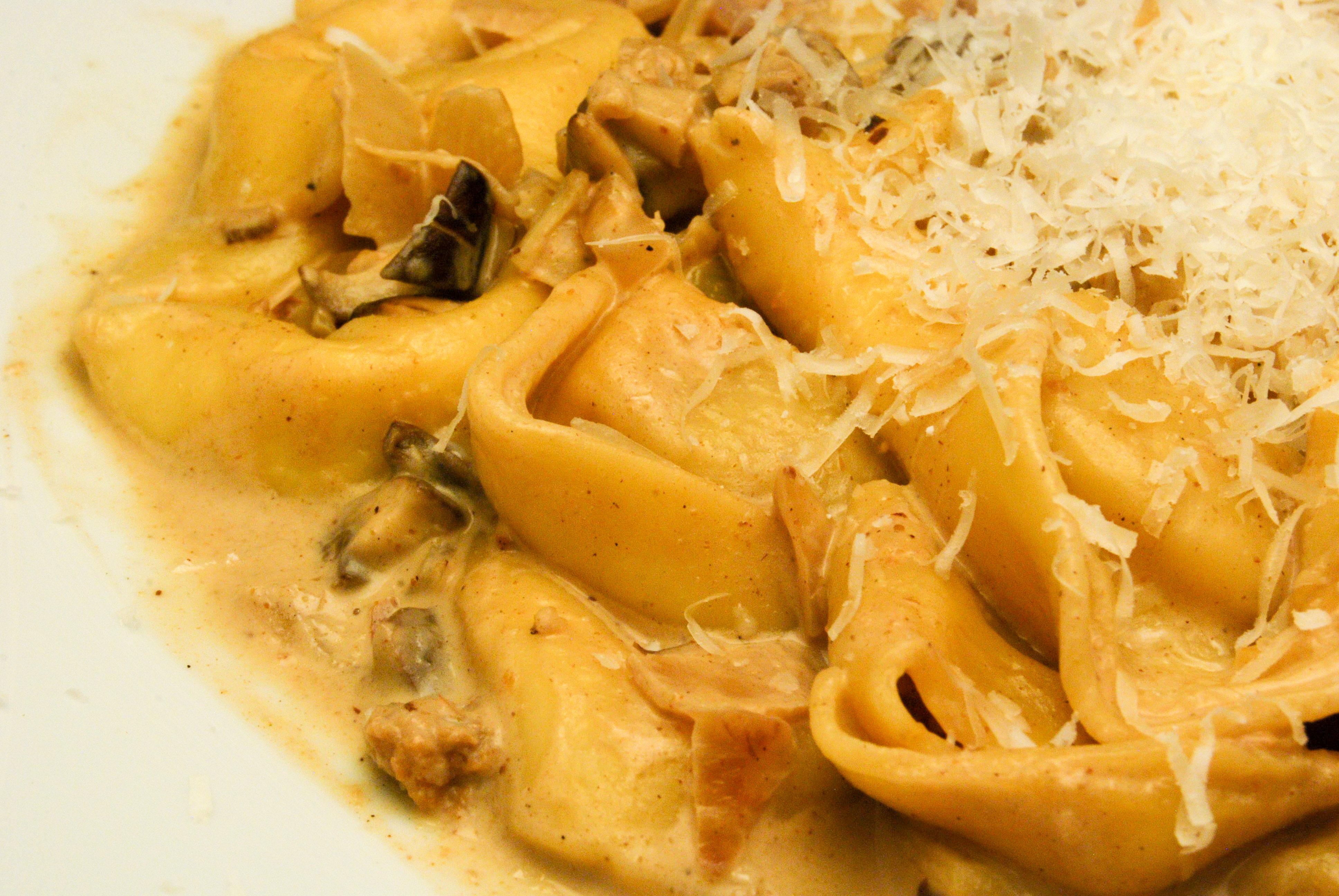 Tortellini mit Pilz-Käse-Sauce
