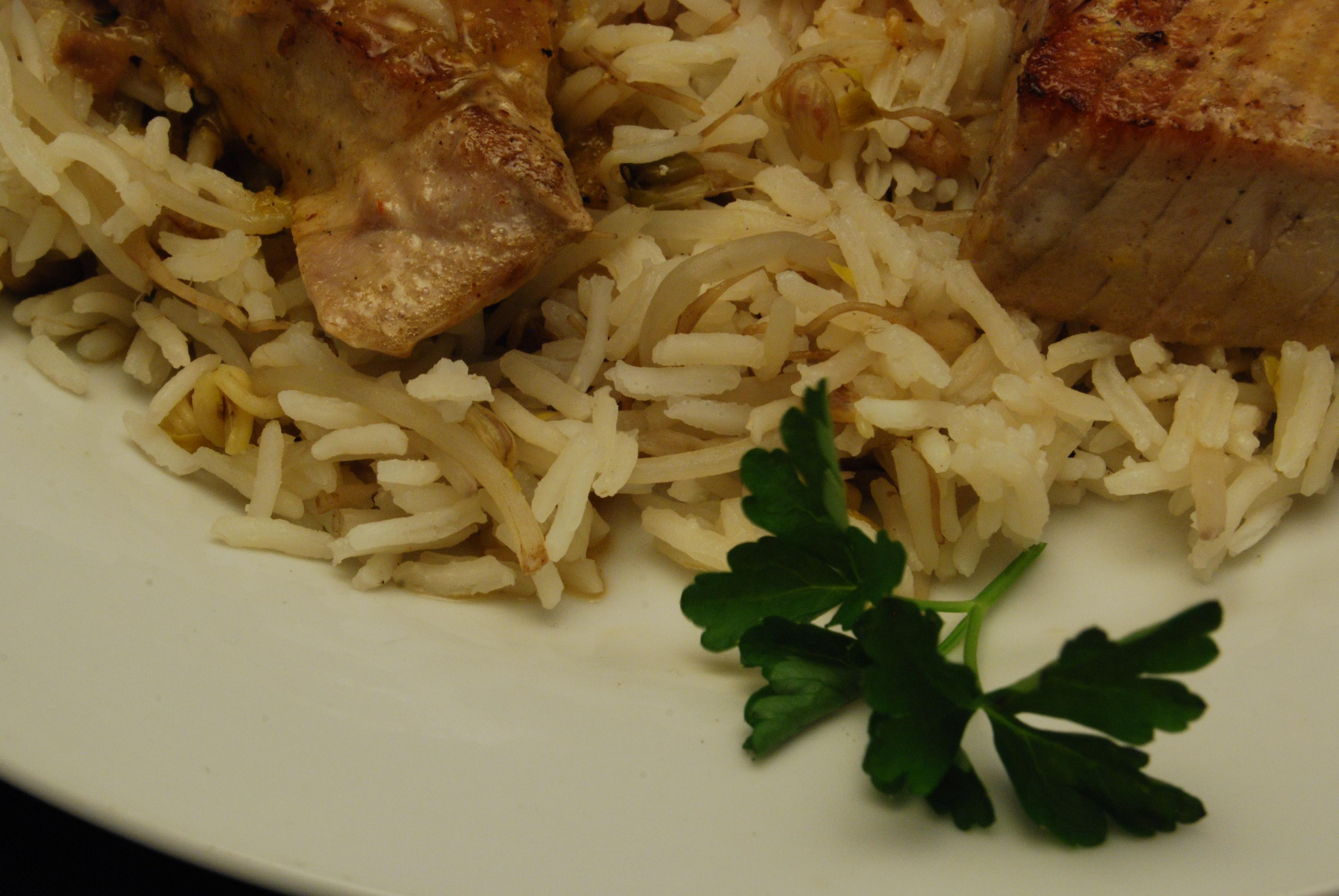 Thunfisch-Medaillons mit Mungobohnenkeimlingen-Reis