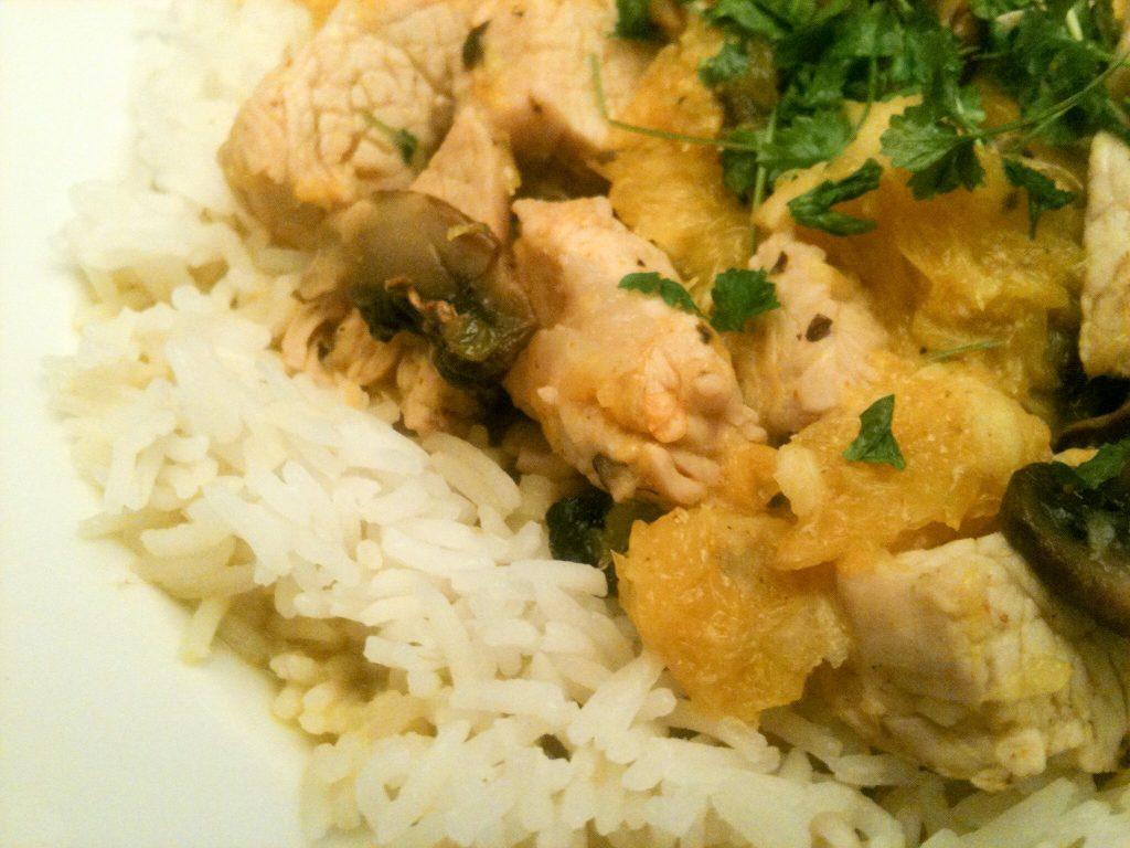 Putenfleisch in scharfer Orangen-Sauce mit Basmati-Reis