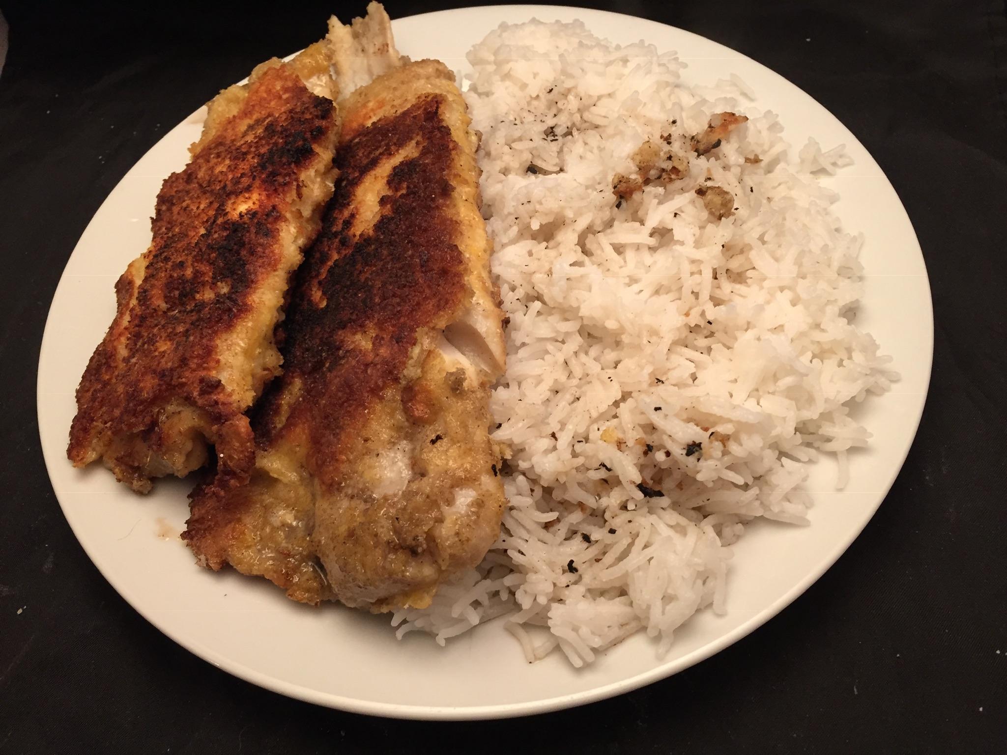 Seelachs-Filets in Parmesankruste mit Basmati-Reis