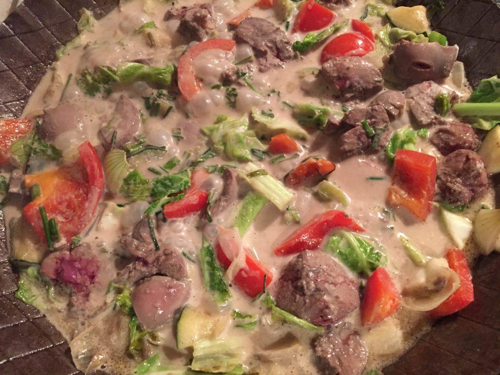 Nieren-Gemüse-Pfanne mit Rahm-Sauce