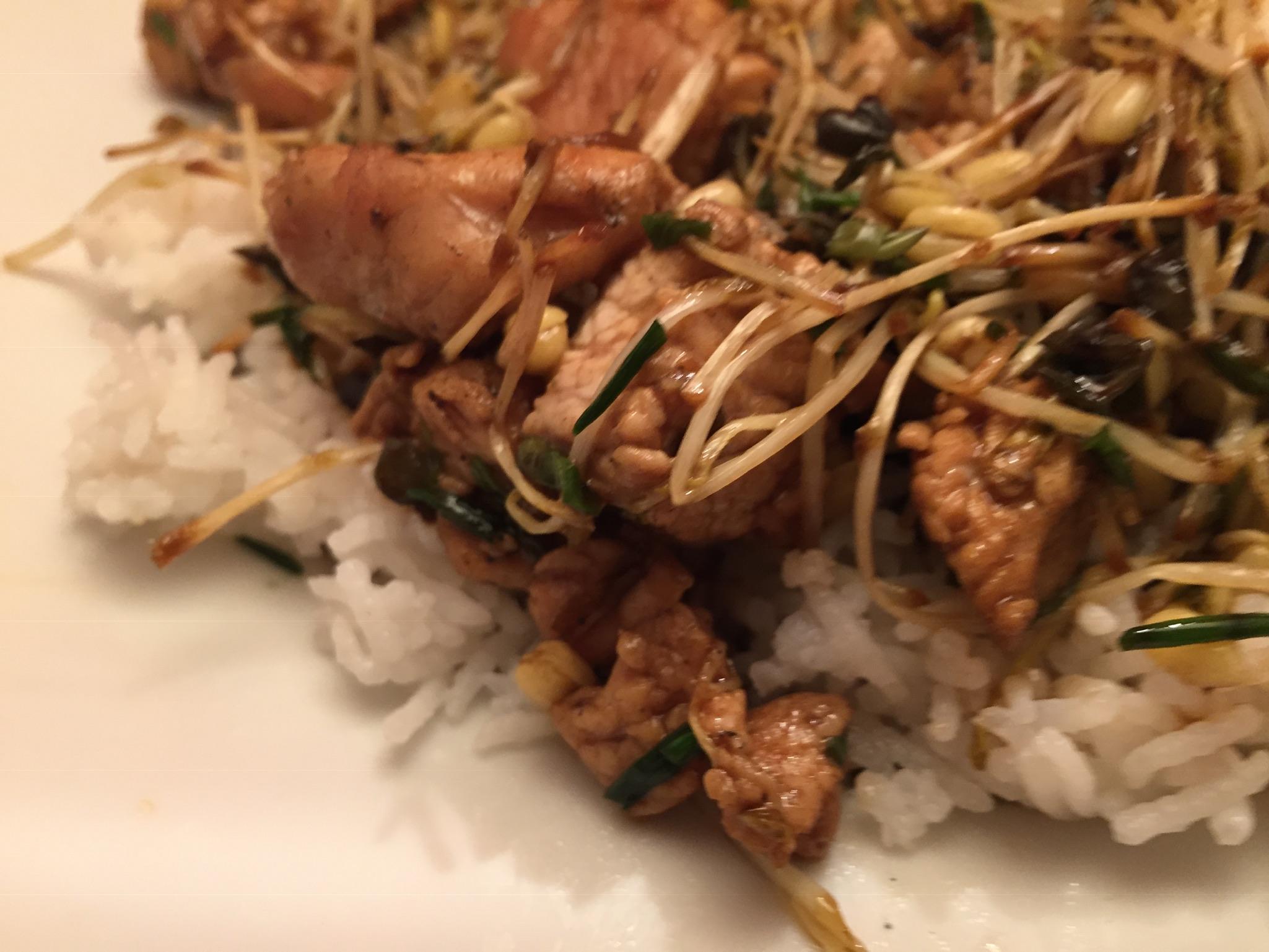 Putenfleisch mit Sprossen und Basmati-Reis