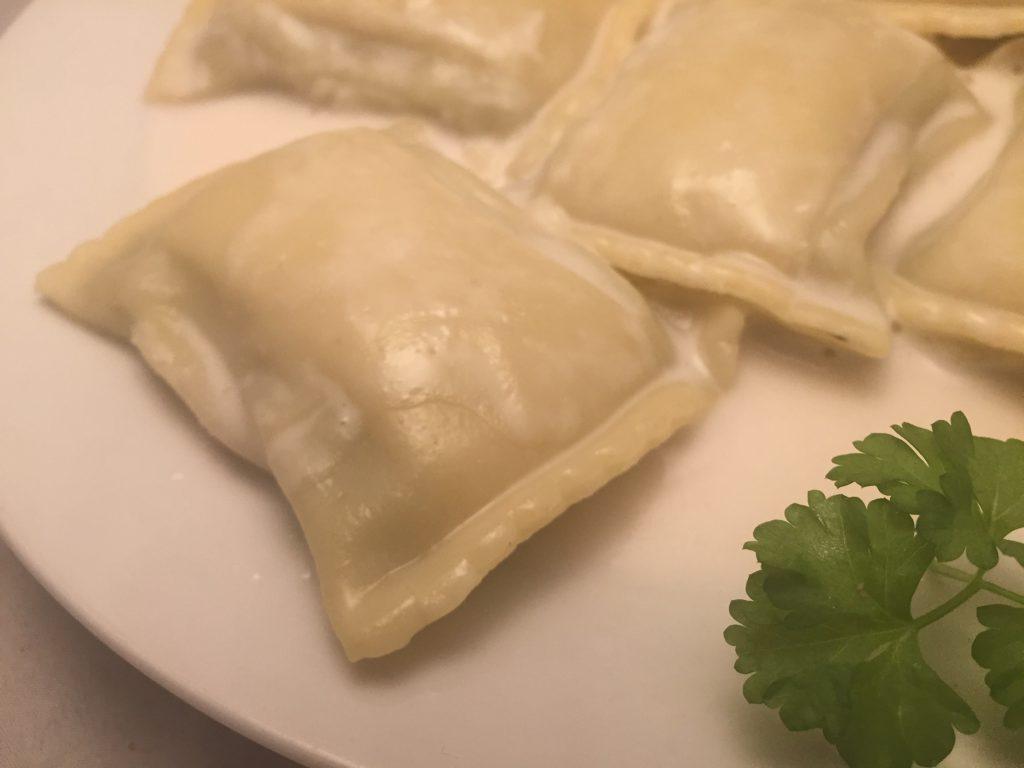 Maultaschen mit Kokosmilch-Sauce