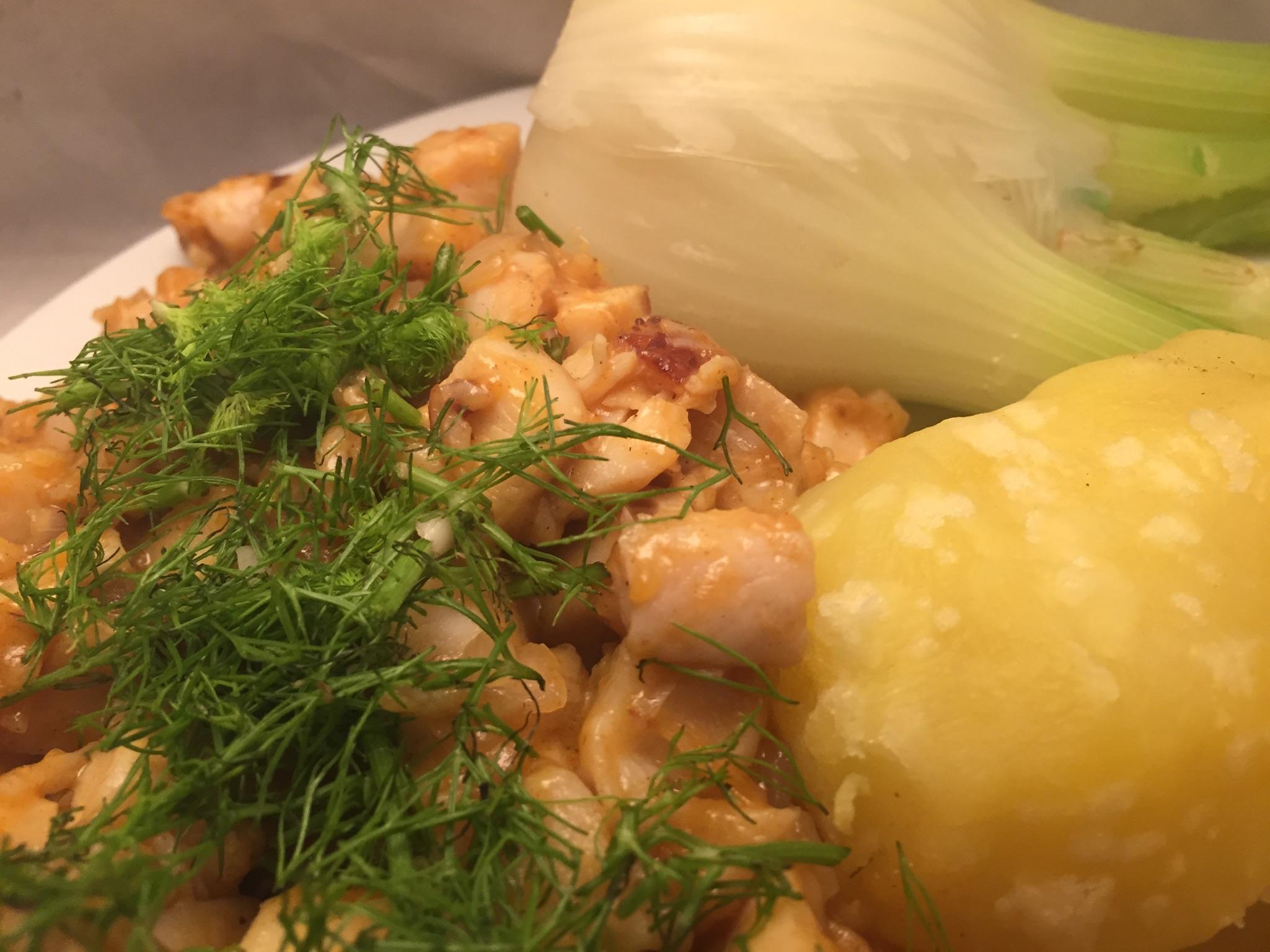 Hähnchenbrust, Fenchel und Salzkartoffeln