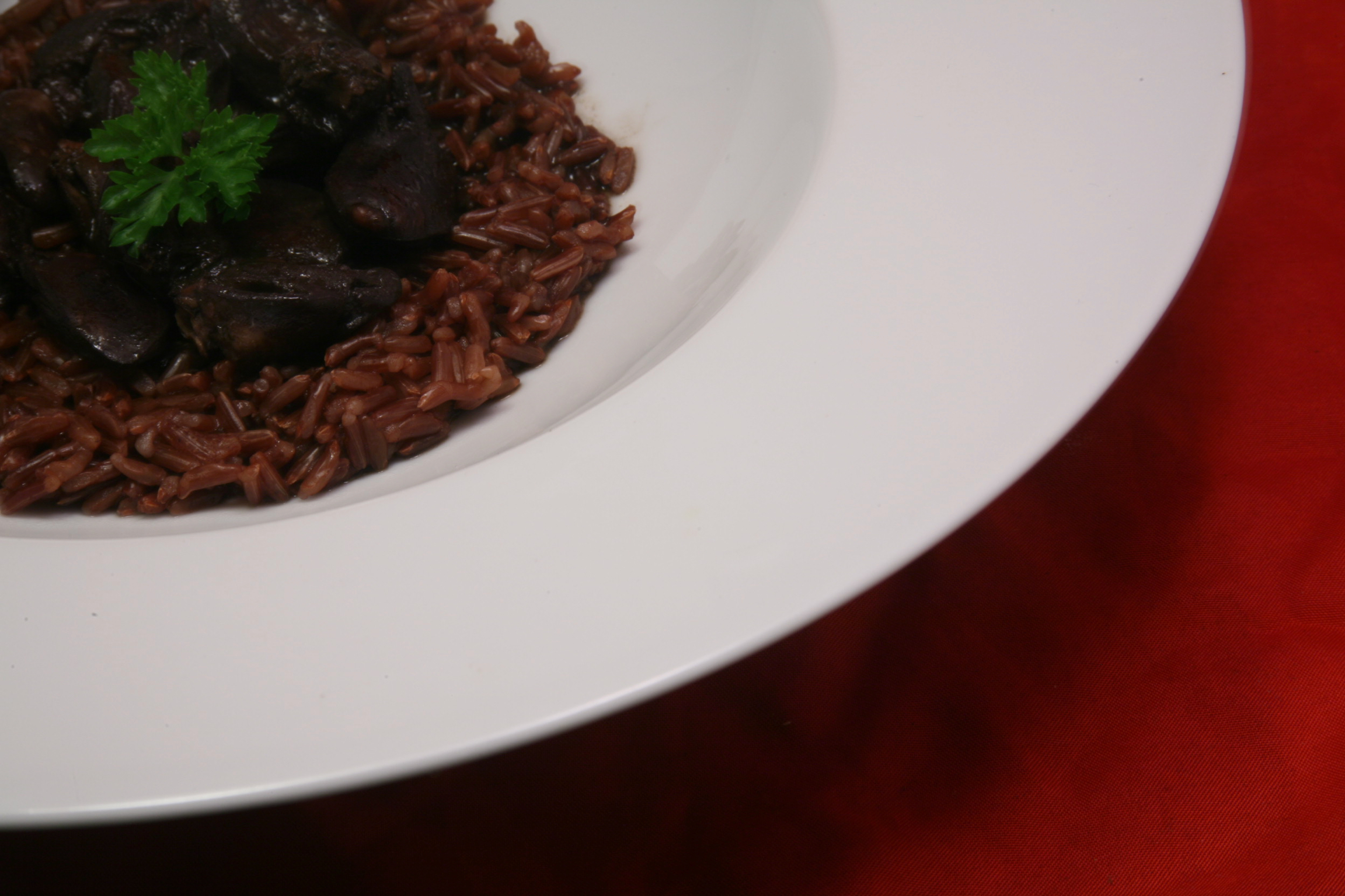 Hähnchenherzen mit rotem Vollkorn-Reis