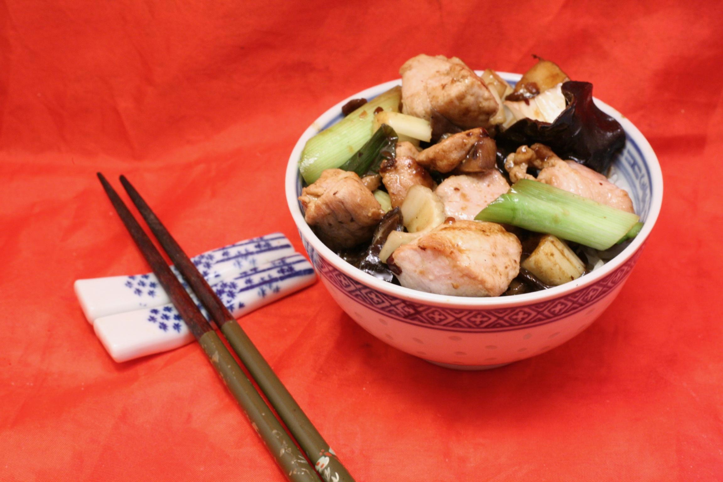 Schweinefleisch mit Gemüse und Reis