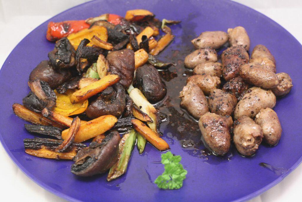 Gegrillte Hähnchenherzen mit Grill-Gemüse